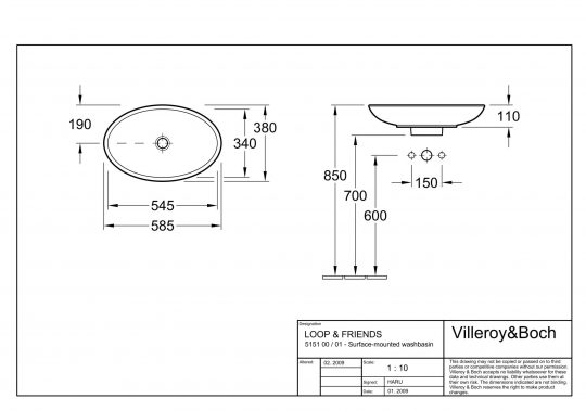 VILLEROY&BOCH NADGR.LAVABO 58.5X38 LOOP&FRENDS 51510001