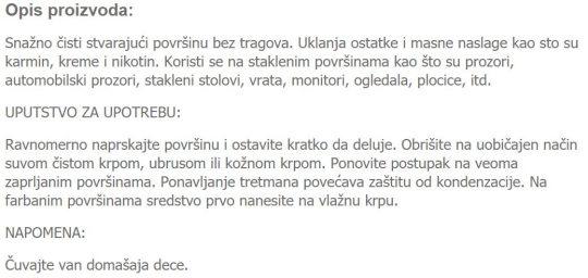 CISTAC STAKLA I OGLEDALA 124