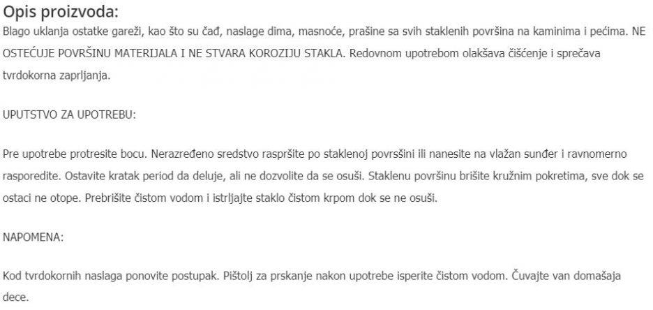 CISTAC KAMIN STAKLA 929