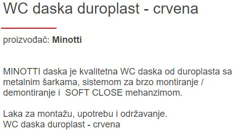 WC DASKA MINOTTI SLOW-CLOSE CRVENA