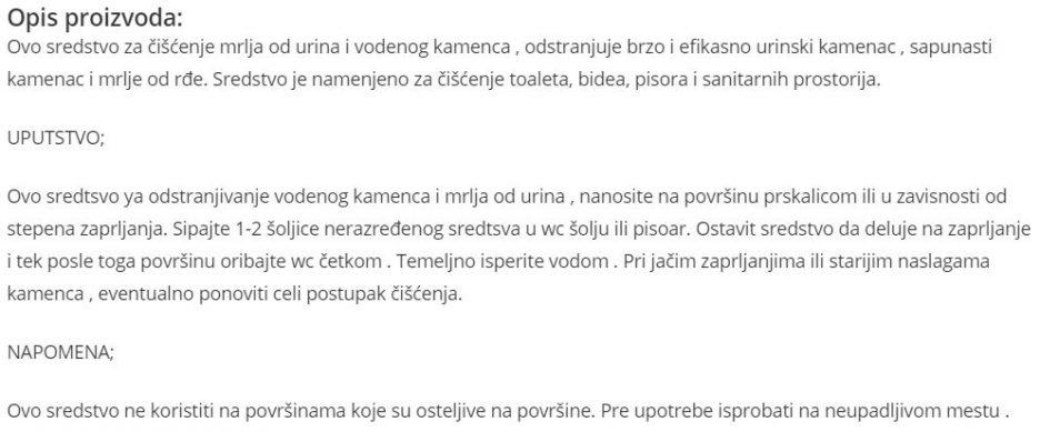 CISTAC KAMENCA I URINA 1L 820