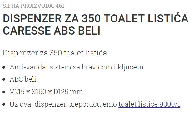 DISPANZER ZA 350 LISTICA 461