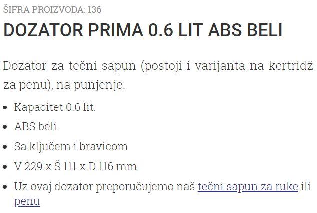 DOZATOR PRIMA 0.6L V229XS111X116MM