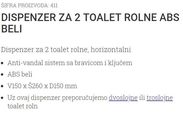 DRZAC ZA DVE TOALET ROLNE V150XS260XD150MM 411