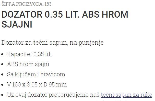 DOZATOR 0.35L ABS HROM-DIM 183