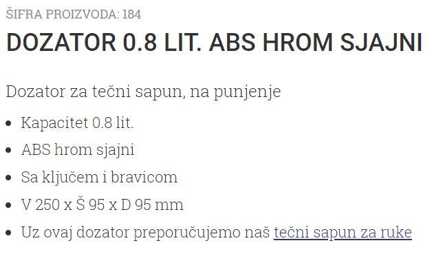 DOZATOR 0.8L ABS HROM-DIM 184