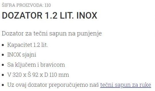 DOZATOR 1.2L INOX 1100 UNIONCLEAN