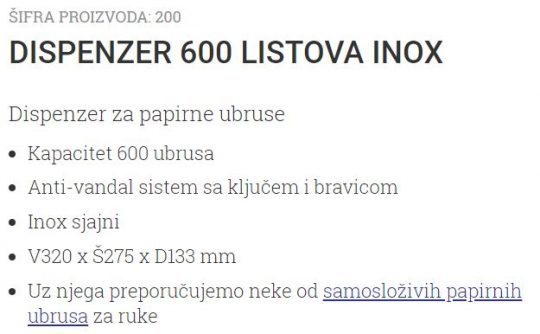DISPENZER 600 LISTOVA INOX 200 UNIONCLEAN