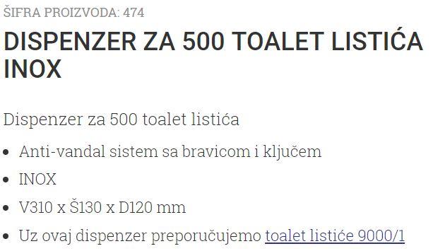 DISPANZER 500 LISTICA INOX 474 UNIONCLEAN