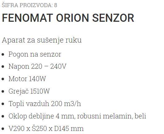 FENOMAT ORION SENZOR 8 UNIONCLEAN