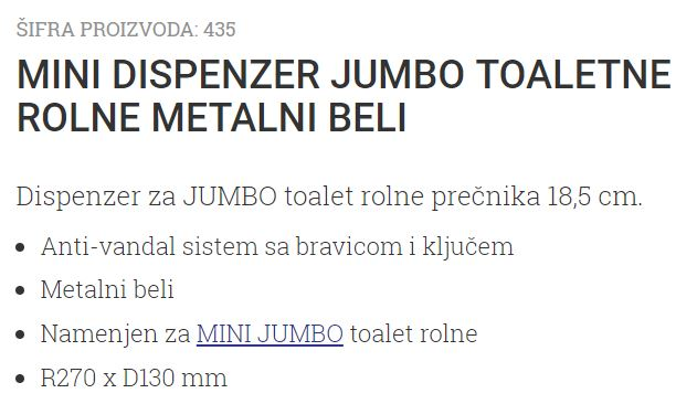 DISPANZER TOALET ROLNI BELI SUZA ANTIV.
