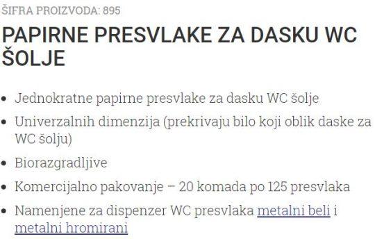 PAPIRNE ROLNE ZA WC DASKU 125/1