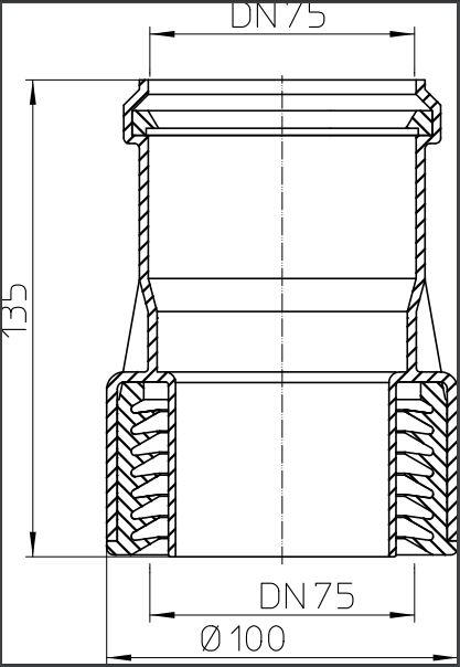 PRELAZNI KOMAD FI 75 PVC LIV HL9/7