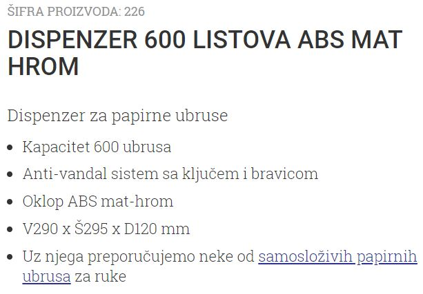 DISPANZER ZA PAPIRNE UBRUSE ABS MAT HROM 226