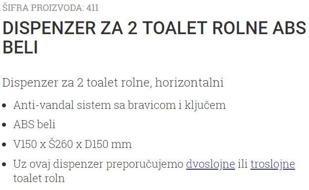 DRZAC TOALET PAPIRA 2 ROLNE ABS BELI