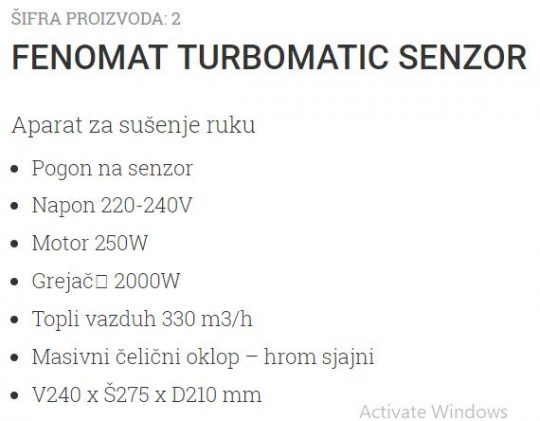FENOMAT TURBOMATIC CR SENZOR