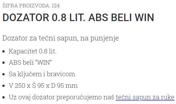 DOZATOR 0.8L WIN ABS BELI 124