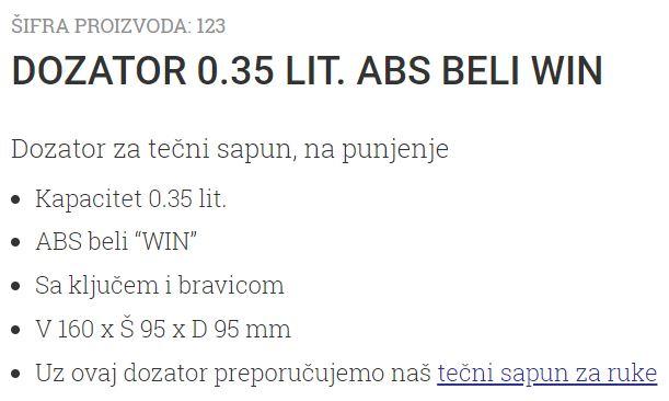 DOZATOR 0.35L WIN ABS BELI 123