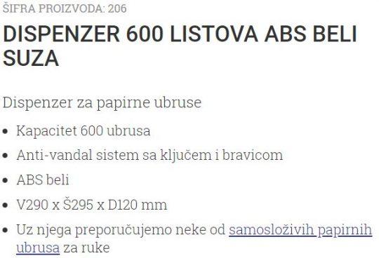 DISPANZER 600 ABS BELI-SUZA 206