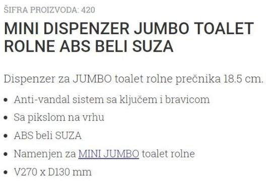MINI DISPANZER ZA T.ROLNE BELI-SUZA 420