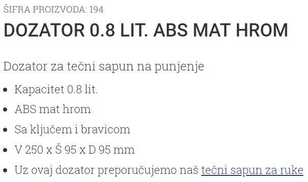 DOZATOR 0.8L MAT-HROM 194