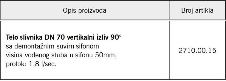 SLIVNIK ACO DN75 VERT. 2710.00.15