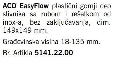SLIVNIK ACO EN1253 14.9X14.9 5141.22.00