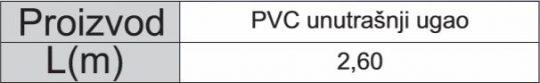 PVC LAJSNA BELA 01 UNUTR.UGAO