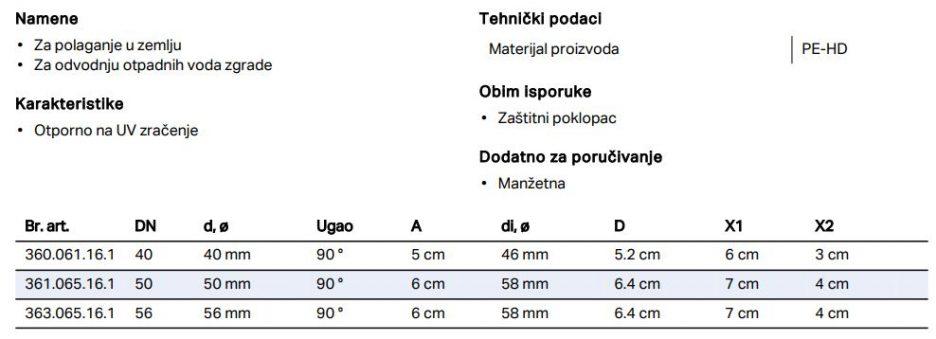 PE SIFONSKO PRIK. KOLENO UGAONO FI 50 GEB 361.065.16.1